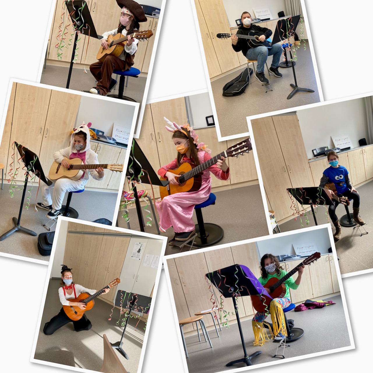 """Faschingsunterricht"" in der Gitarreklasse"